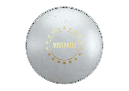 A side view of a white cricket ball with a gold foil branding area and the country name of australia on an isolated background - 3D render