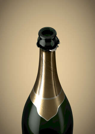 A green bottle of champagne showing the open top and torn gold foil on an isolated background - 3D render Stock Photo