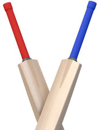 Two generic cricket bats crisscrossed on an isolated white background - 3D render