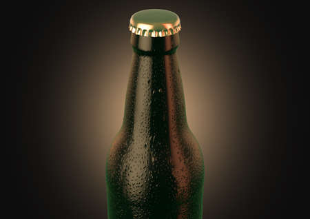 A brown amber beer bottle covered in water spritz and condensation droplets on an isolated dark studio background - 3D render