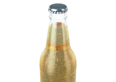 A clear glass beer bottle covered in water spritz and condensation droplets on an isolated white studio background - 3D render