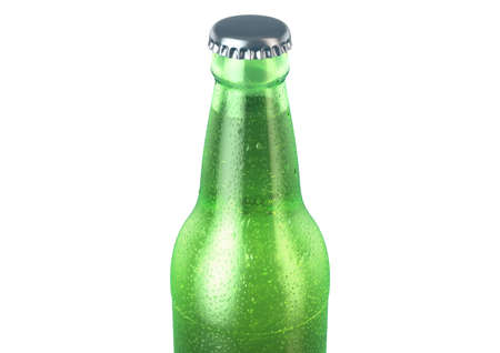 A green glass beer bottle covered in water spritz and condensation droplets on an isolated white studio background - 3D render Stock Photo