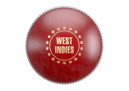 A side view of red cricket ball with a gold foil branding area and the country name of west indies on an isolated background - 3D render