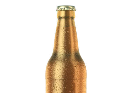 A brown amber glass beer bottle covered in water spritz and condensation droplets on an isolated white studio background - 3D render