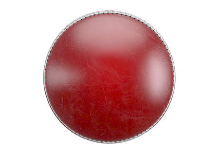 A side view of red cricket ball on an isolated background - 3D render Stock Photo