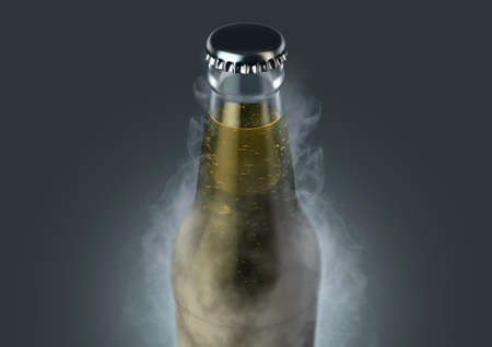 An icy cold clear glass beer bottle covered in frost and exuding ice sublimation on an isolated dark studio background - 3D render
