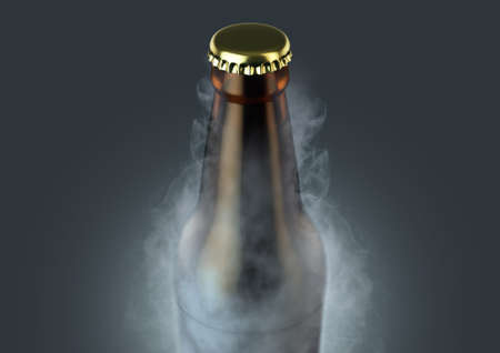 An icy cold brown glass beer bottle covered in frost and exuding ice sublimation on an isolated dark studio background - 3D render