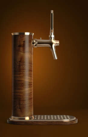 A concept wooden draught beer tap with brass fittings on an isolated dark background - 3D render