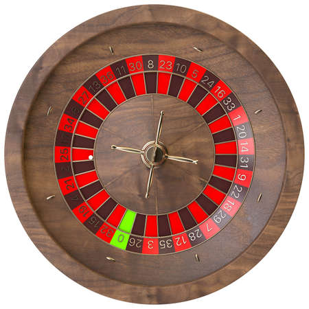 A closeup of a regular wooden roulette wheel with red and black markers and gold detail on an isolated background - 3D render 免版税图像