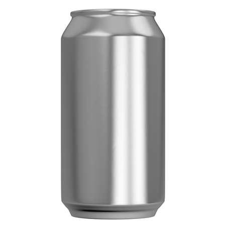 Eine normale, gebürstete Aluminiumdose ohne Marke auf einem isolierten weißen Studiohintergrund - 3D-Rendering Standard-Bild