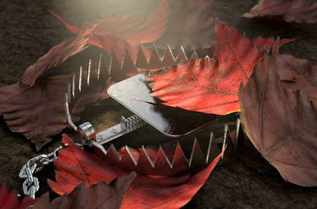 An open metal animal hidden under a pile of autumn leaves on the ground - 3D render