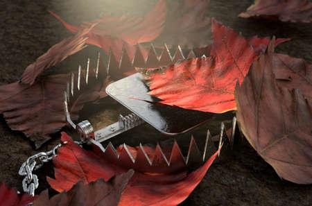 Ein offenes Metalltier versteckt unter einem Haufen Herbstblätter auf dem Boden - 3D-RenderingD