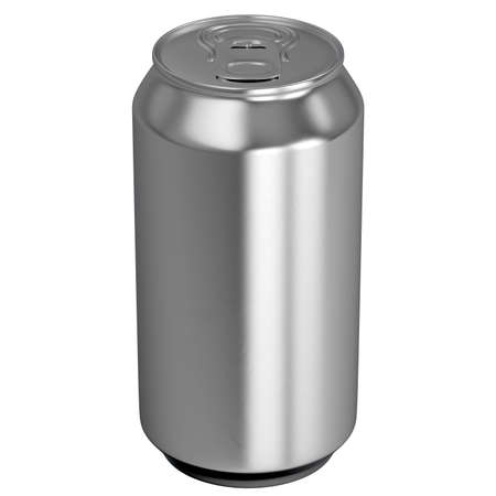 An unbranded regular brushed aluminum can on an isolated white studio backgound - 3D render