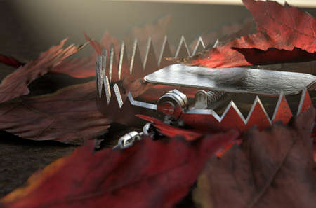 An open metal animal hidden under a pile of autumn leaves on the ground - 3D render Banque d'images