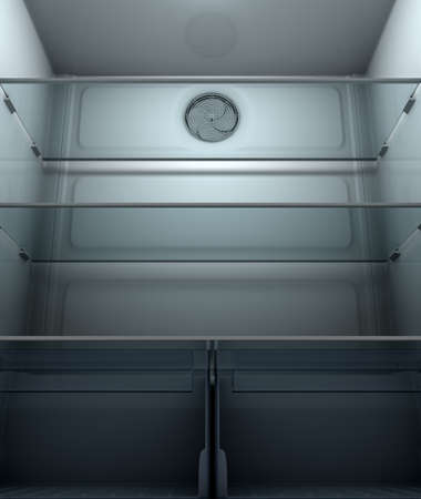 A view inside a dimly lit empty household fridge or freezer with glass shelves and drawers - 3D render