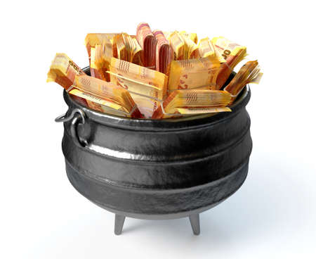 A regular cast iron potjie and lid stuffed full with wads of south african rand currency on an isolated background - 3D render