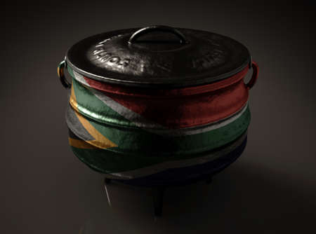 A regular cast iron potjie and lid with the south african flag painted on the side on an isolated background - 3D render Reklamní fotografie