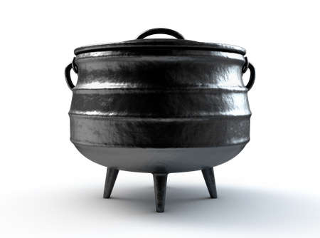 A regular cast iron potjie and lid with the south african name and flag embossed on it on an isolated white studio background - 3D render Banco de Imagens - 123550473