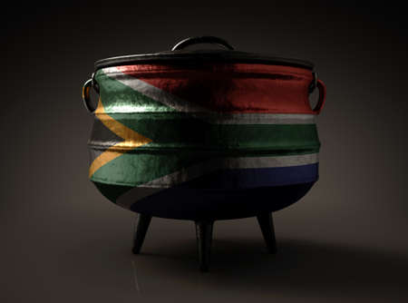 A regular cast iron potjie and lid with the south african flag painted on the side on an isolated background - 3D render