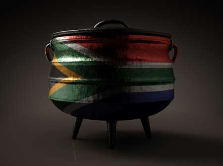 Een gewone gietijzeren potjie en deksel met de Zuid-Afrikaanse vlag geschilderd aan de zijkant op een geïsoleerde achtergrond - 3D render Stockfoto