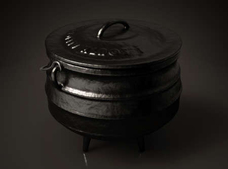 A regular cast iron potjie and lid with the south african name and flag embossed on it on an isolated dark background - 3D render Banco de Imagens
