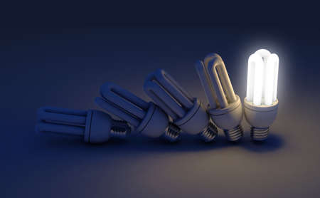 A row of toppling fluorescent light bulbs in sequence with a single one illuminated - 3D render Stok Fotoğraf