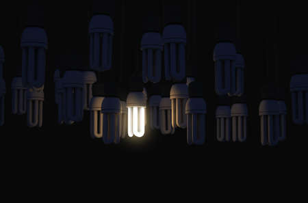 A collection of hanging fluorescent light bulbs with a single one illuminated - 3D render Stock Photo