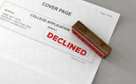 A wooden stamp with embossed text stamping the word declined on a college application form - 3D render