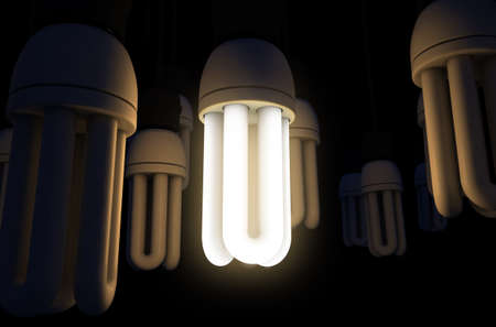 A collection of hanging fluorescent light bulbs with a single one illuminated - 3D render Stok Fotoğraf