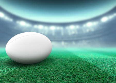 Ein regelmäßiger weißer Rugbyball, der nachts auf einem Rasenplatz im Stadion unter beleuchteten Flutlichtern ruht - 3D-Rendering