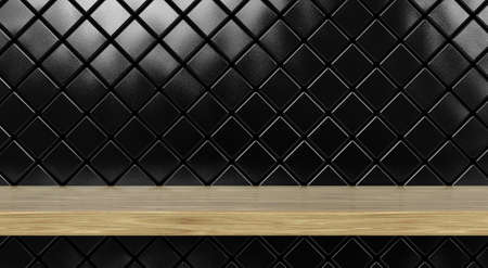 A front view of a regular cleared wooden shelf or surface on a wall tiled with diamond shaped black ceramics - 3D render