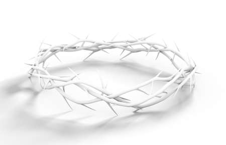Branches of thorns woven into a white crown depicting the crucifixion on a white background - 3D render