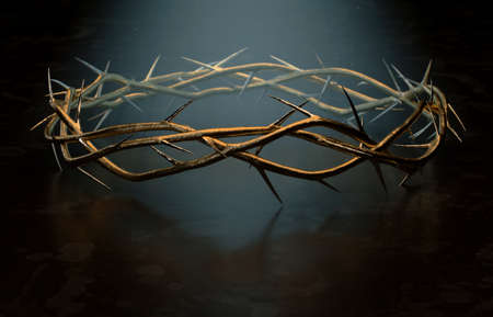 Branches of thorns woven into a gold crown depicting the crucifixion on a dark spotlit background - 3D render 免版税图像