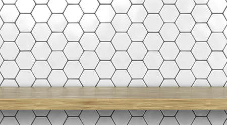 A front view of a regular cleared wooden shelf or surface on a wall tiled with hexagonal white ceramics - 3D render