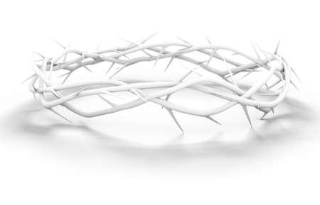 Rami di spine intrecciati in una corona bianca raffigurante la crocifissione su uno sfondo bianco - rendering 3D
