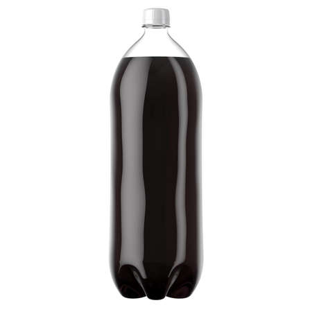 A plastic two liter cola soda bottle on an isolated white studio background - 3D render