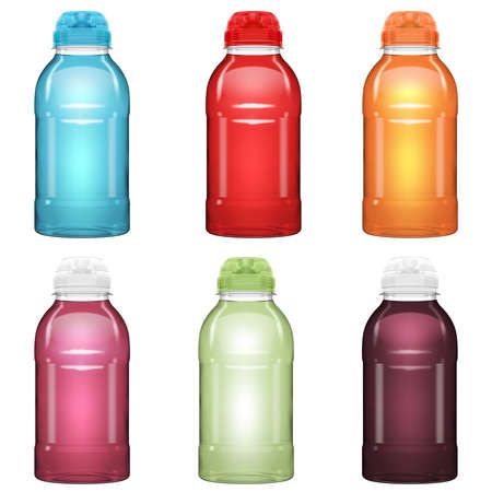 Une collection de bouteilles de boissons vitaminées en plastique avec des couvercles compressibles dans une variété de couleurs sur un fond de studio blanc isolé - rendu 3D