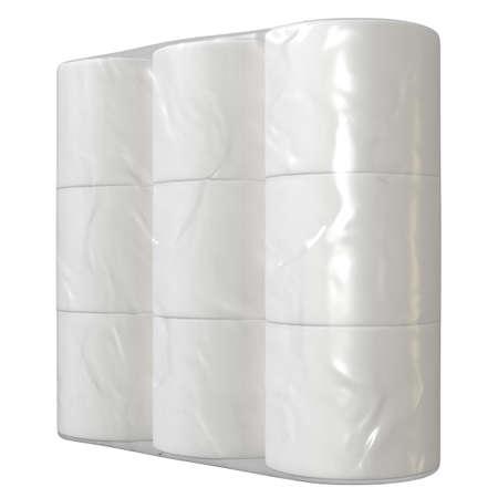 Eine markenlose Schrumpffolienverpackung mit einem Stapel weißer Toilettenpapierrollen - 3D-Rendering Standard-Bild
