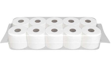 Eine markenlose Schrumpffolienverpackung mit einem Stapel weißer Toilettenpapierrollen - 3D-Rendering