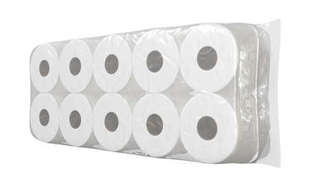 An unbranded plastic shrink wrap packaging holding a pile of white toilet paper rolls - 3D render 版權商用圖片