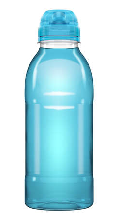 A plastic vitamin drink bottle with a squeeze lid on an isolated white studio background - 3D render