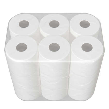 An unbranded plastic shrink wrap packaging holding a pile of white toilet paper rolls - 3D render 스톡 콘텐츠
