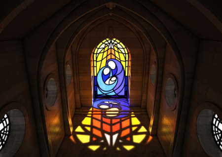 An empty grand stone church interior lit by the moon through a stained glass window depicting the nativity scene - 3D render 스톡 콘텐츠
