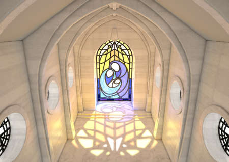 An empty grand stone church interior lit by suns rays through a stained glass window depicting the nativity scene in the daytime - 3D render