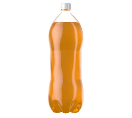 An irregular shaped plastic two liter orange soda bottle on an isolated white studio background - 3D render
