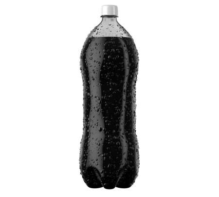 An irregular shaped plastic two liter cola soda bottle with condensation droplets on an isolated white studio background - 3D render