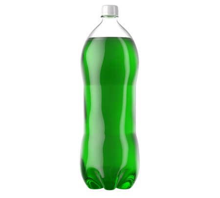 An irregular shaped plastic two liter green soda bottle on an isolated white studio background - 3D render 스톡 콘텐츠