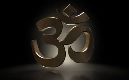 A dramatically backlit gold casting of the om hinduism sign on a dark background - 3D render 스톡 콘텐츠