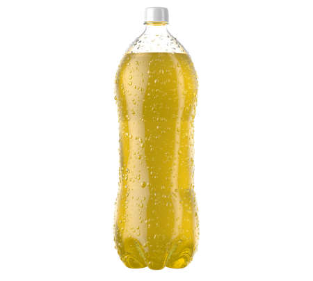 An irregular shaped plastic two liter yellow soda bottle with condensation droplets on an isolated white studio background - 3D render