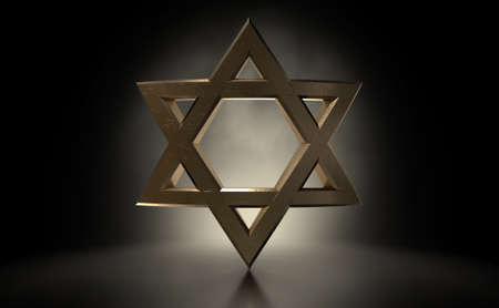 A dramatically backlit gold casting of the star of david on a dark background - 3D render